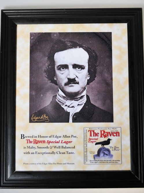 E.A. Poe Framed Poster with RavenBeer Retro Label
