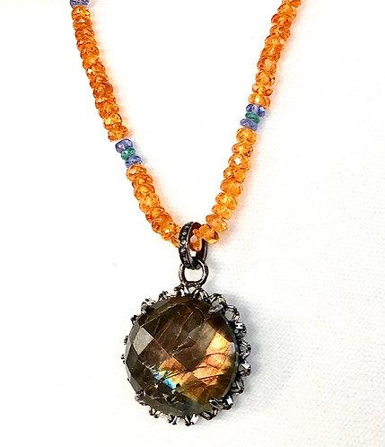Fireball Sapphire Labradorite Necklace