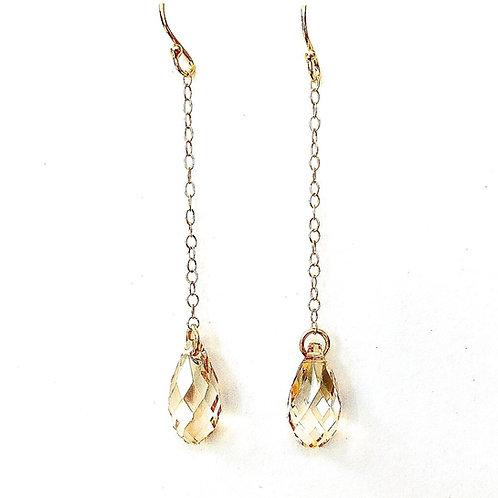Golden Drop Long Earrings
