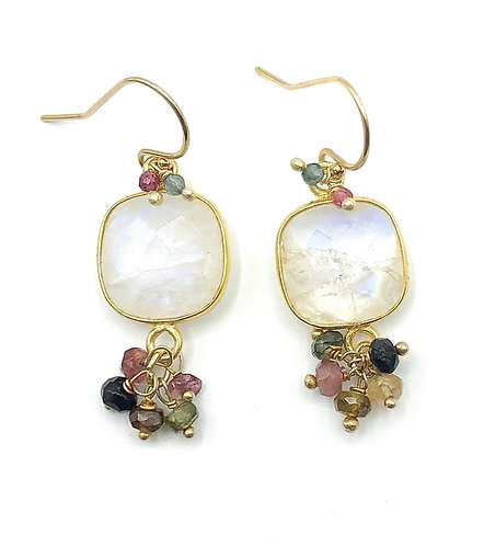 Moonstone with Tourmalines Earrings