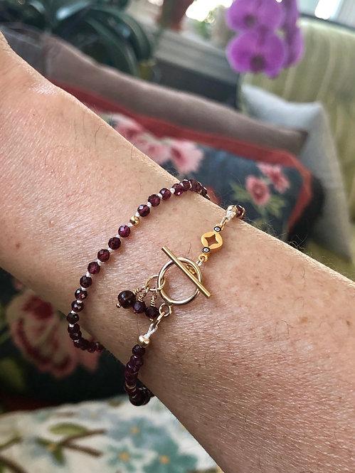 Garnet Dots Bracelet or Necklace