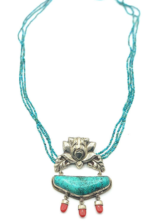 Tibetan Turquoise Lotus Necklace