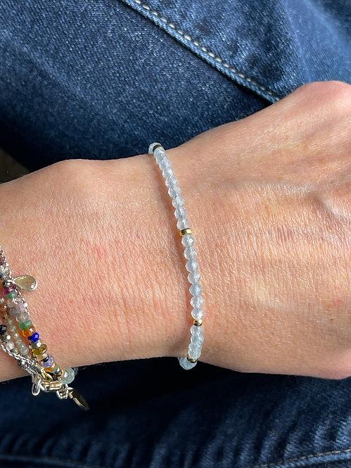 Aquamarine one wrap bracelet