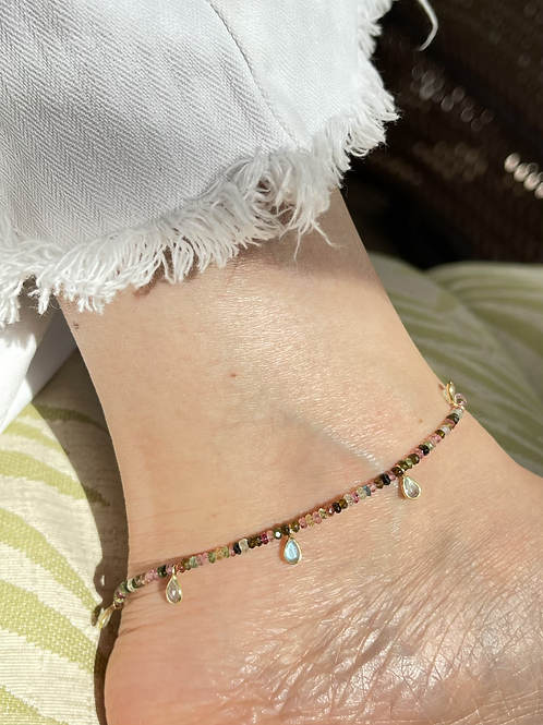 Tourmaline Anklet II - rondelle beads