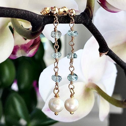 Pearly Aquamarine Earrings