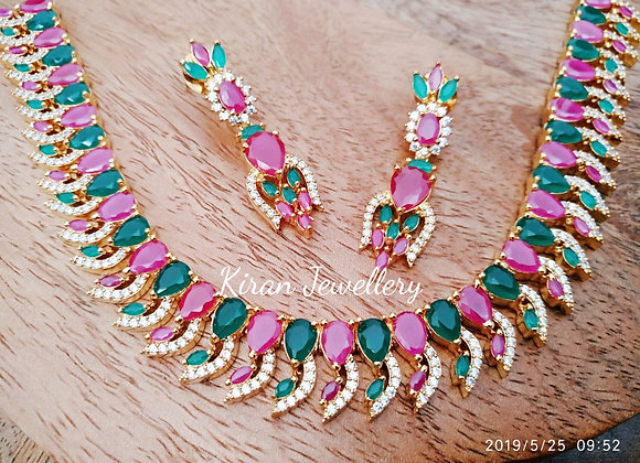 Elegant Ruby and Green Necklace