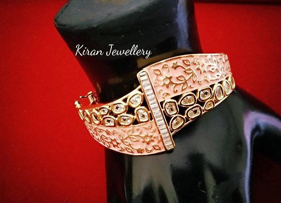 AD Bracelet with Pink Meena