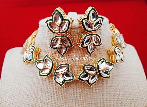 Leaf Shape Kundan Necklace