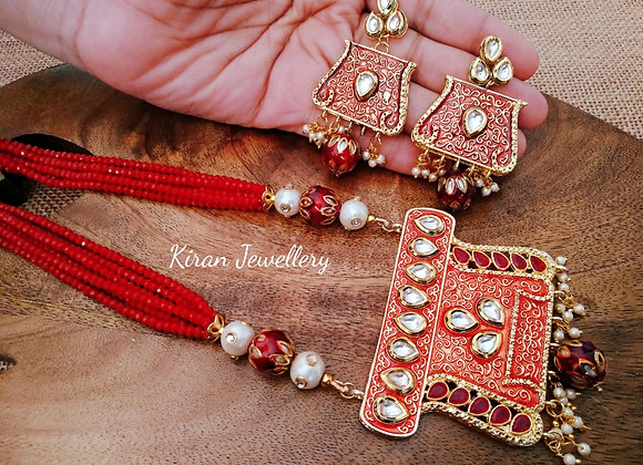 Red Mala Set With Kundan Work at Pendant