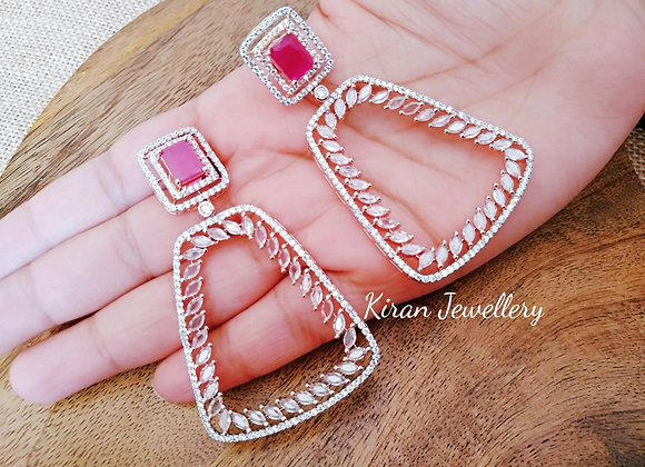 Ruby Colored Stylish Earrings