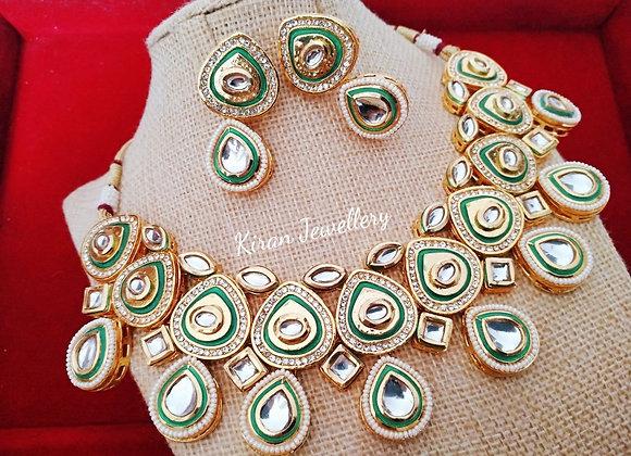 Green Meena Kundan Necklace