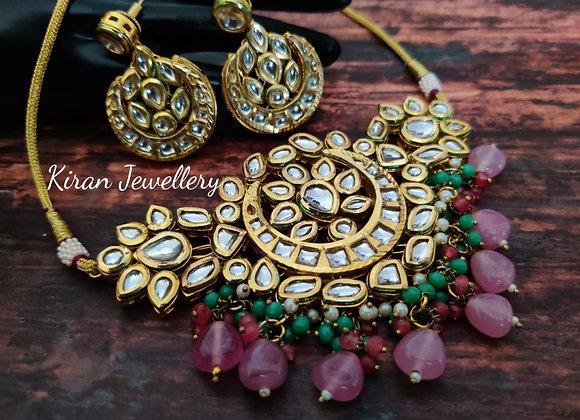 Pink and seagreen Drop Elegant Kundan Choker