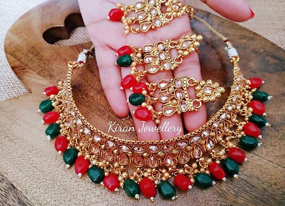 Ruby-Green Polki Choker Necklace