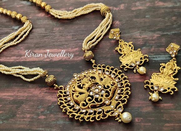Polki Long Necklace-Temple Jewellery