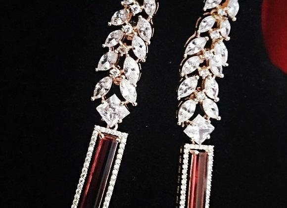 Ruby Color Elegant Earrings