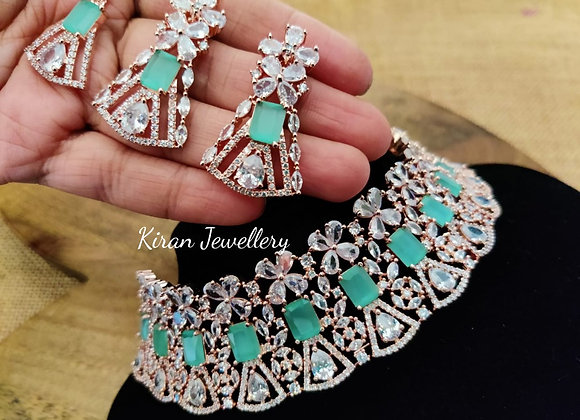 Mint Stone Rose gold Choker Necklace