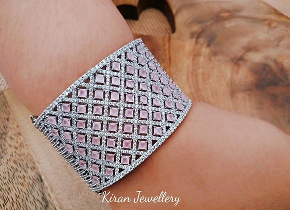 White Polish Pink Stone Stylish Bracelet