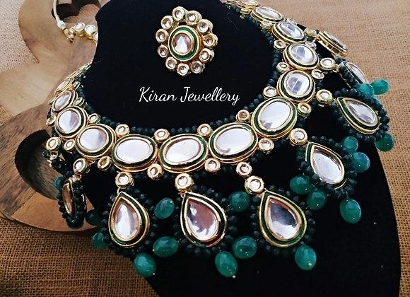 Kundan Necklace In Green Color