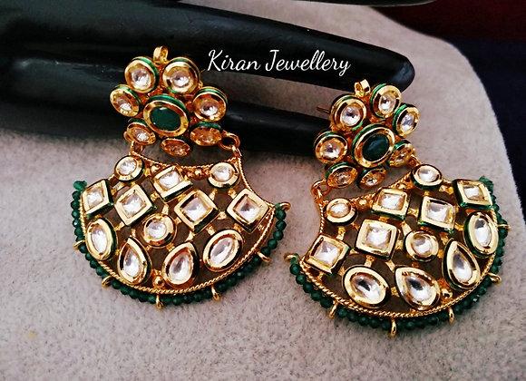 Elegant Green Kundan Chandbaali