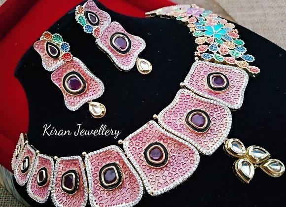 Indo Western Look Fusion AD Necklace