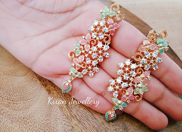 AD Earrings with Meena
