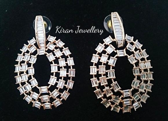 RoseGold Polish AD Earrings