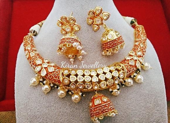 Beautiful Red Meenakari Kundan Necklace