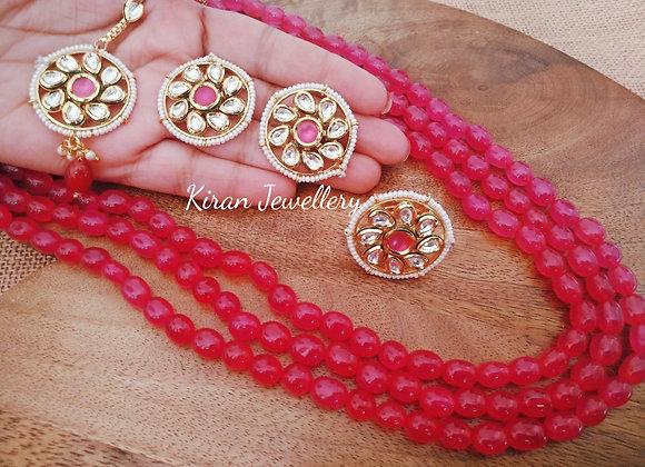 Pink Mala Set With Mangtikka and Ring