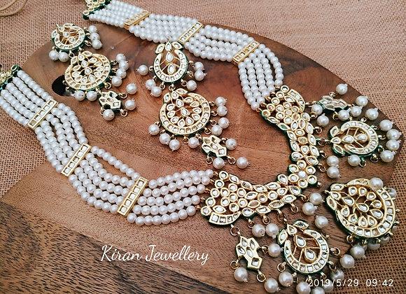 Multilayered White Mala Kundan Necklace