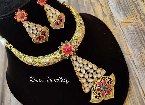 Indo-Western Fusion Ruby Necklace