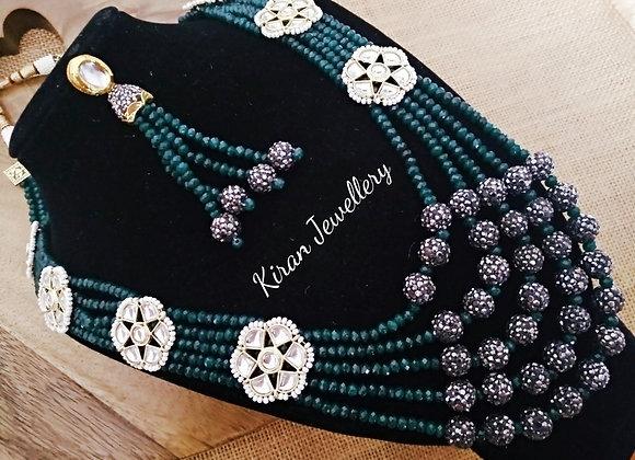 Green Onyx Mala Kundan Set