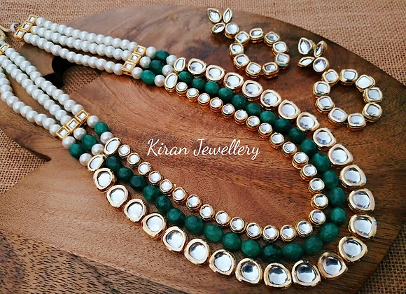 Green and White Pearl Mala Kundan Set
