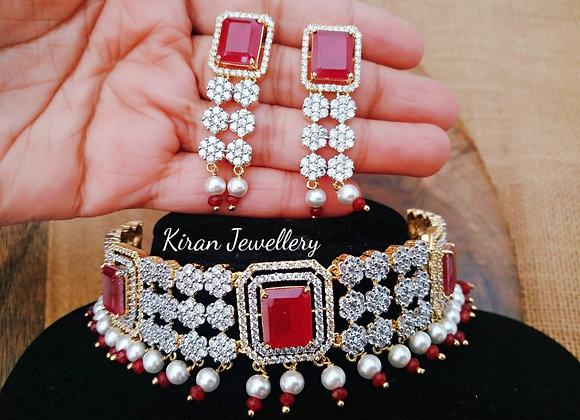 Ruby Stone Choker  Necklace