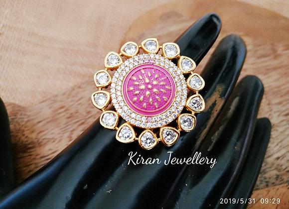 Pink Meena AD Ring