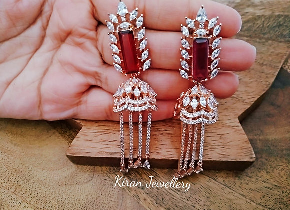 RoseGold Polish Ruby Stone Earrings