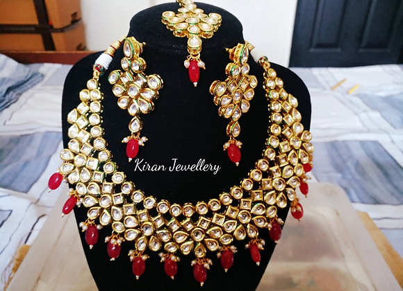 Ruby Color Kundan Necklace