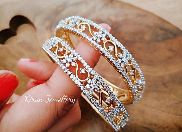 Simple Elegant Diamond Look Bangles
