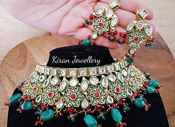 Elegant Green Meena Kundan Choker Set