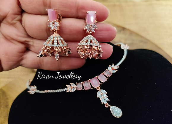 Elegant Pink Stone Necklace