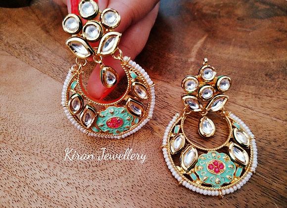 Kundan Earrings With Mint Meena