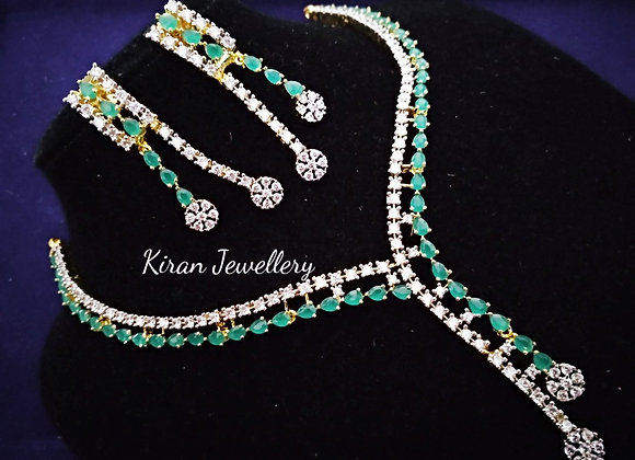 Green and White AD Necklace