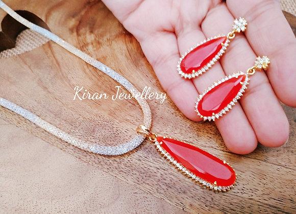 Orange Stone Pendant With Chain