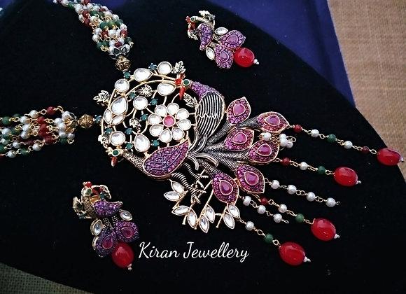 Multicolour Pearl Mala Antique Kundan Set