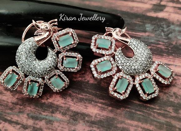 Elegant Mint Peacock Earrings
