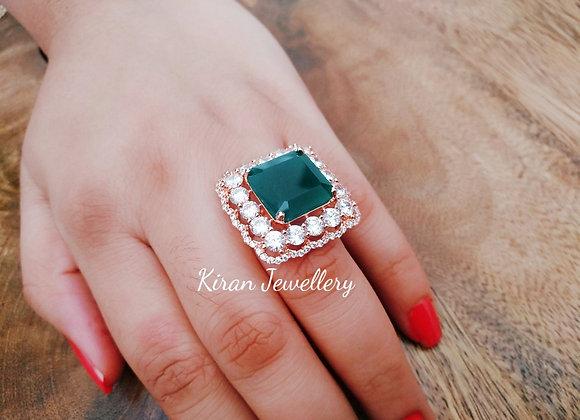 Sqaure Shaped Green Ring