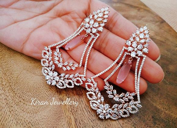 Pink Stone Stylish Earrings