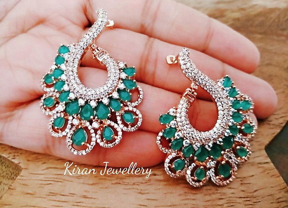 Green Color Big Size Ear Studs
