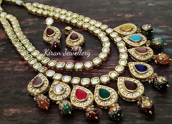Multicolor Kundan Long Necklace