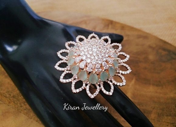 Mint Stone RoseGold Polish  Ring