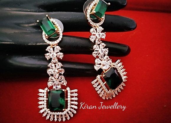 Green Color Elegant Earrings